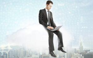 a man sitting on a cloud for eStorm Australia's virtual CIO blog